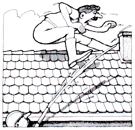 Der Bauer reitet auf dem Dach
