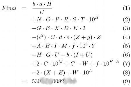 Formel zur Berechnung des Finals