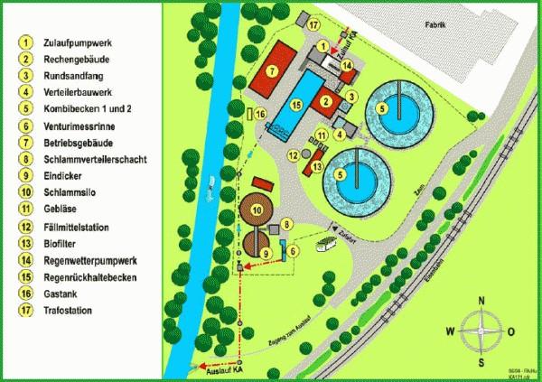 Lageplan der Kläranlage Dirmingen