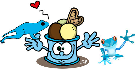blue frogs with a cup of ice cream